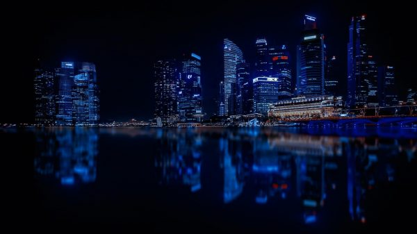 Singapore cbd by night, lys i skyskrapere